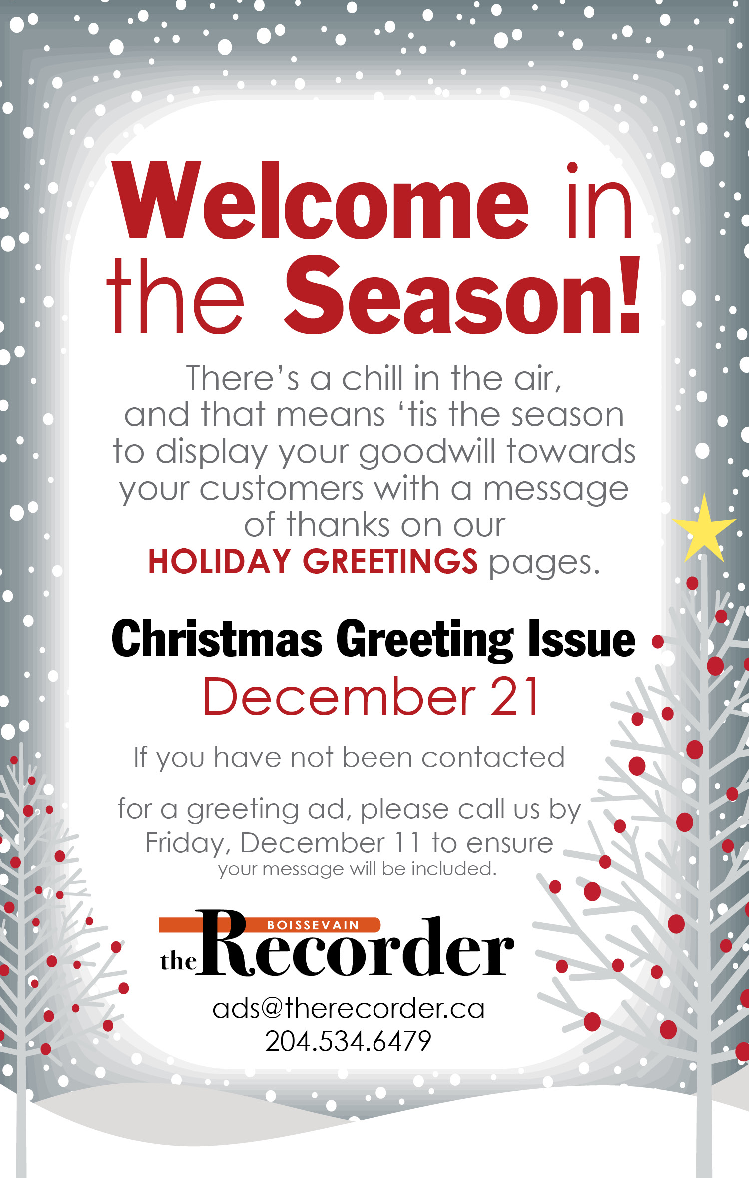 Recorder Xmas greeting issue